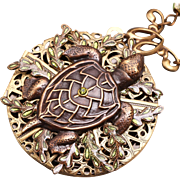 Turtle Necklace Sea Turtle Necklace Compass Necklace Filigree Locket