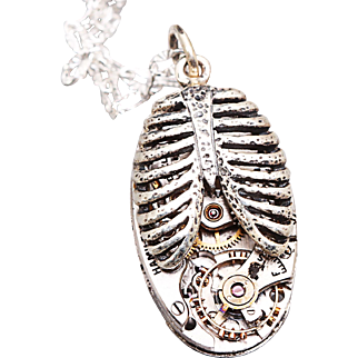 Steampunk Pendant Rib Cage Steampunk Necklace Sterling Silver Necklace Steampunk Style