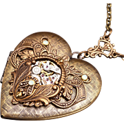 Steampunk Heart Necklace Steampunk Picture Locket Necklace Steampunk Heart Locket Necklace
