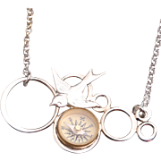 Sterling Silver Compass Necklace Silver Compass Necklace Bird Necklace