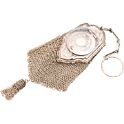 Rare Whiting and Davis Purse Chatelaine Purse Coin Purse Doll Size Purse Sterling Silver