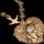 Heart Necklace Compass Necklace Heart Locket Photo Locket