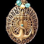 Nautical Necklace Anchor Necklace Compass Locket Nautical