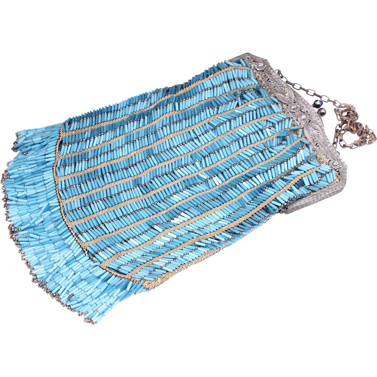 Flapper Long Fringe Vintage Blue And Silver Purse Vintage Beaded Purse
