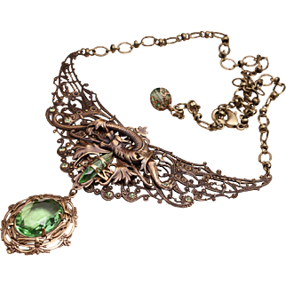Winged Dragon Necklace Victorian Style Dragon Necklace Statement Necklace