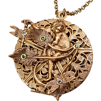 Monkey Necklace Locket Necklace Compass Necklace Picture Locket Necklace