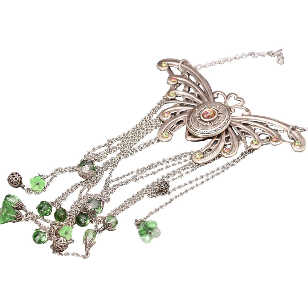 Butterfly Locket Necklace Silver Butterfly Necklace Statement Necklace