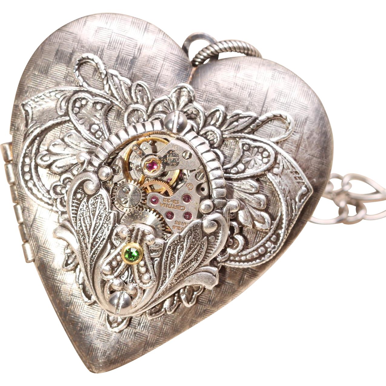 Steampunk Heart Necklace Steampunk Heart Locket Necklace Steampunk Picture Locket Necklace