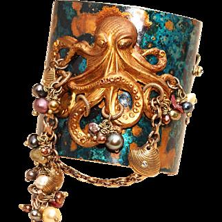 Statement Bracelet Large Bracelet Cuff Octopus Bracelet Cuff
