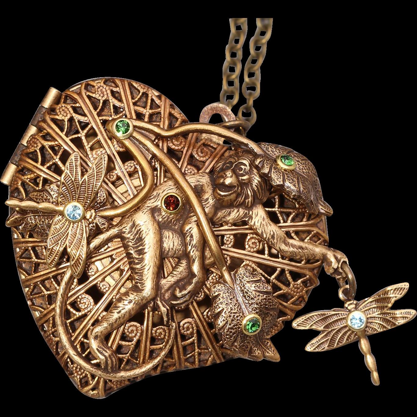 Monkey Necklace Heart Locket Necklace Compass Necklace