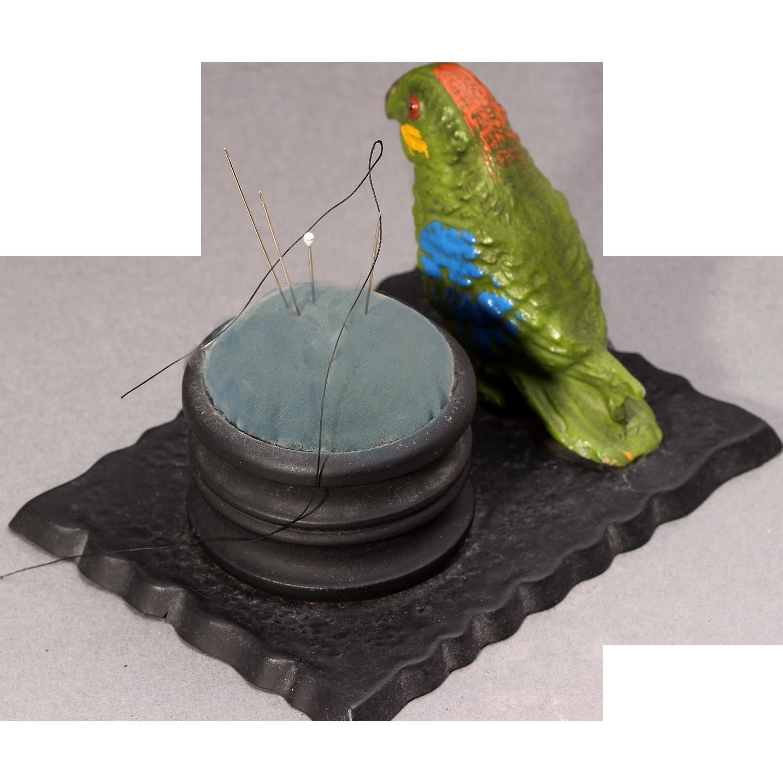 Vintage Parrot Pin Cushion Metal Parrot Pin Cushion