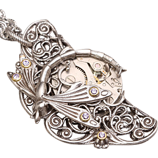 Dragonfly Necklace Steampunk Pendant Necklace Dragonfly