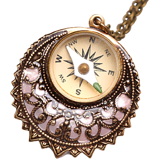 Pink Filigree Necklace Working Compass Pendant Compass Necklace