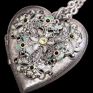 Heart Locket Necklace Silver Locket Necklace Picture Locket Photo Locket