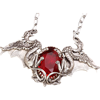 Red Crystal Necklace Goth Necklace Bat Wings Griffin Necklace