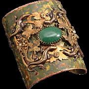 Lizard Cuff Bracelet Art Nouveau Style Cuff Bracelet Large Cuff Bracelet