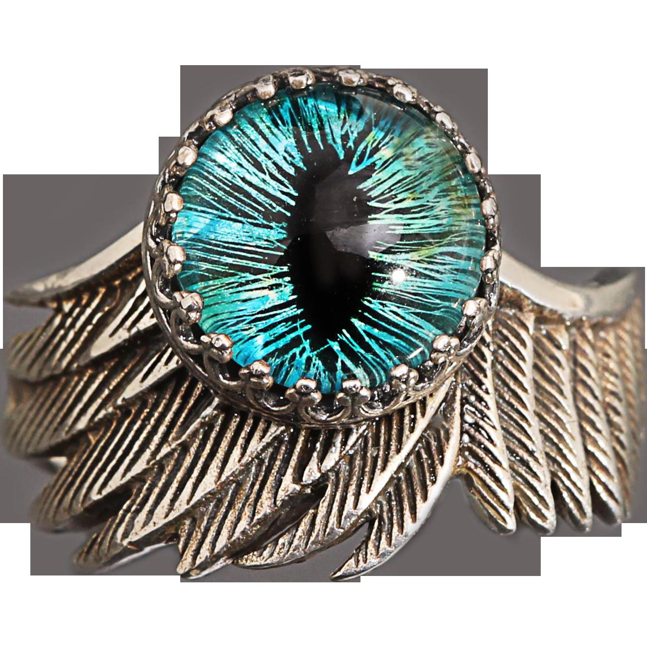 Sterling Silver Ring Wing Ring Eye Ring Dragon Eye Ring Eagle Ring