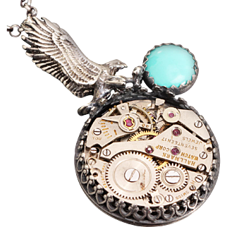 Steampunk Necklace Sterling Silver Eagle Necklace Native American Style Necklace