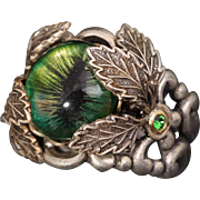Cat Eye Ring Leaf Ring Silver Dragon Eye Ring