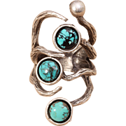 Silver Branch Ring Turquoise Ring Silver Turquoise Ring Branch Ring Unisex Ring Mens Ring