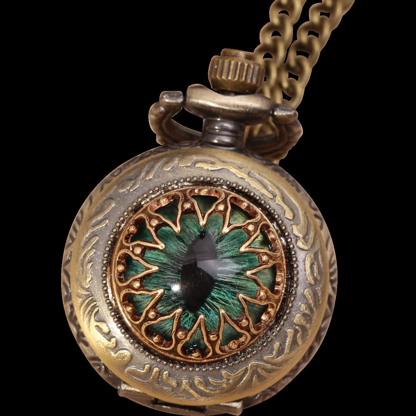 Dragon Eye Necklace Pocket Watch Necklace Eye Necklace Evil Eye Necklace Pocket Watch Working