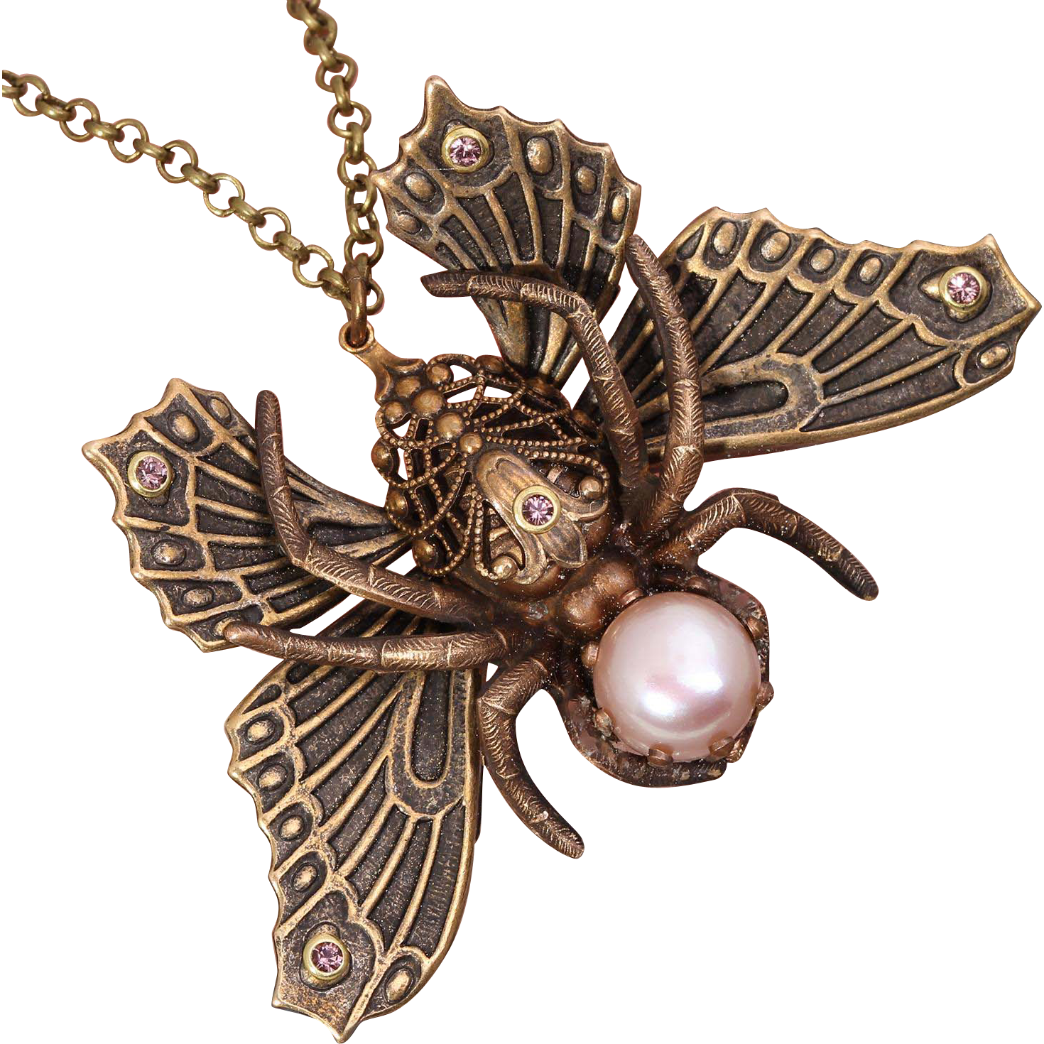 Spider Necklace Butterfly Necklace Moth Spider Necklace Cabinet of Curiosities Art Nouveau Style