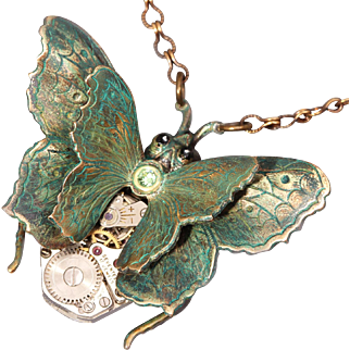 Butterfly Necklace Butterfly Pendant Butterfly Jewelry Steampunk Style Steampunk Necklace