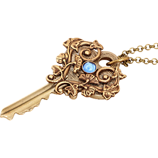 Key Necklace Vintage Key Necklace Key Jewelry Key Pendant Necklace
