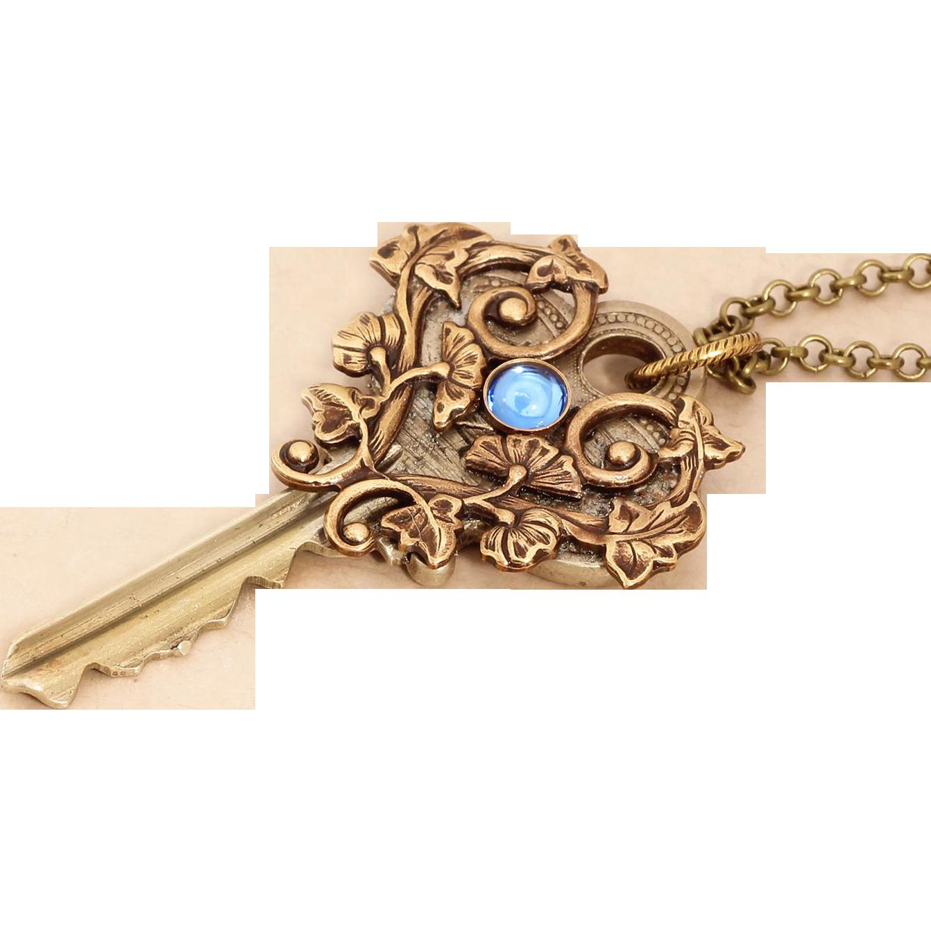 Key Necklace Vintage Key Necklace Key Jewelry Key Pendant Necklace