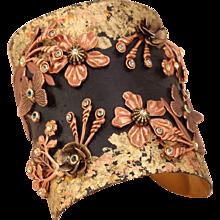 Flower Cuff Bracelet, Large Cuff Bracelet, Art Nouveau Style Cuff Bracelet, Unique Cuff Bracelet