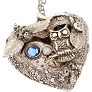 Owl Necklace Heart Necklace Steampunk Necklace Fine Silver Heart Necklace With Owl