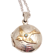 Sterling Silver Bird Necklace Sterling Bird Locket Sterling Silver Locket Sterling Silver Compass Necklace