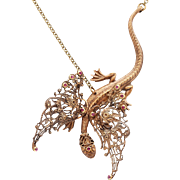 Dragon Necklace Dragon Pendant Necklace Dragon Jewelry Dragon Wings