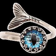 Sterling Silver Mermaid Tail Ring Mermaid Tail Ring Beach Lover Jewelry Mermaid Eye Ring