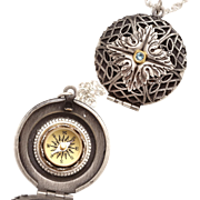 Silver Locket Necklace, Working Compass, Locket Necklace, Compass Locket Necklace