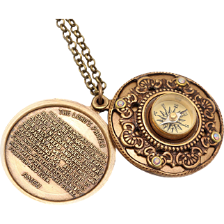 Lords Prayer Locket, Compass Necklace, Religious Necklace, The Lord's Prayer