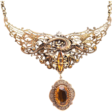 November Birthstone Topaz, Large Dragon Necklace, Dragon Pendant Necklace, Dragon Wings, Dragon Necklace