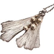 Leaf Necklace, Reversible Necklace, Fine Silver Necklace, Ginkgo Leaf, Silver Leaf Necklace