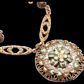 Compass Locket, Flower Locket, Compass Necklace, Filigree Locket, Flower Necklace