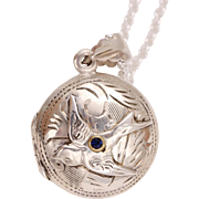 Sterling Silver Bird Locket Necklace, Sterling Silver Locket Pendant, Sterling Silver Compass Locket, Sterling Silver Photo Locket