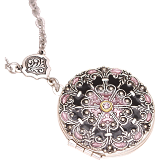 Photo Locket Necklace, Victorian Style Locket, Silver Locket Necklace, Locket Pendant Necklace
