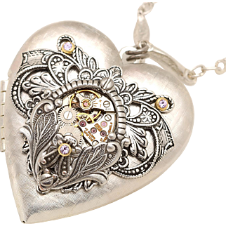Steampunk Heart Locket Silver Heart Locket Photo Locket Steampunk Necklace