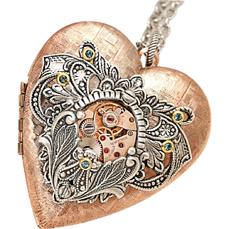 Rose Gold Locket Heart Locket Steampunk Locket Necklace Photo Locket Picture Locket