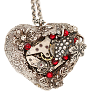 Fine Silver Necklace Heart Necklace Steampunk Heart Necklace Silver Heart Necklace
