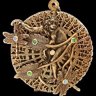 Monkey Necklace, Monkey Locket, Photo Locket, Compass Necklace, Art Nouveau Style