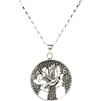 Family Tree, Sterling Silver Tree Of Life Necklace, Bird Necklace, Blue Sapphire