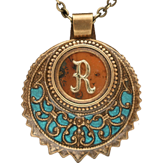 Initial Necklace, Personalized Necklace, Letter Jewelry, Victorian Style