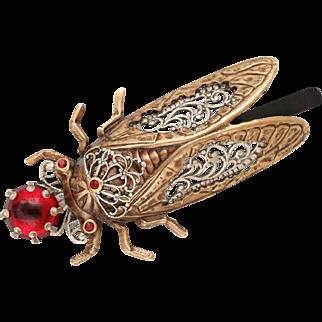 Cicada Bug, Cicada Hair Pin, Art Nouveau Style Cicada, Ruby Red