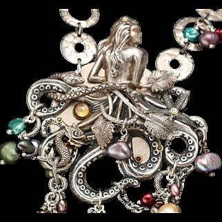 Octopus Necklace, Mermaid Necklace, Unique Necklace, Pearl Necklace, Beach