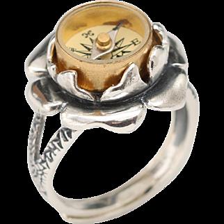 Sterling Silver Ring, Sterling Silver Flower Ring, Sterling Silver Compass Ring, Mothers Day Gift